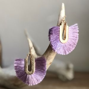 New Lavender Purple Tassel Earrings